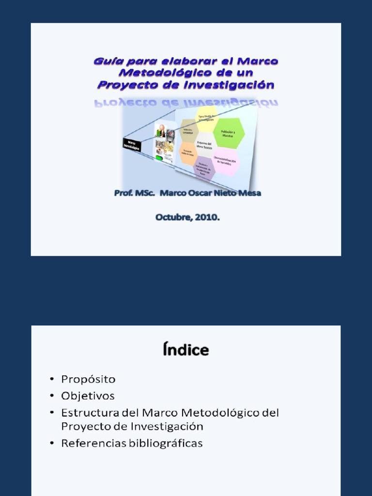 GUÍA PARA ELABORAR EL MARCO METODOLÓGICO DE UN PROYECTO DE INVESTIGACIÓN