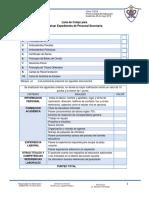 Check List Para Preselección de Personal Administrativo