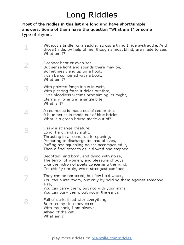 long-riddles pdf | Nature
