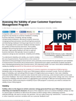 Assessing the Validity of your Customer Experience Management Program  