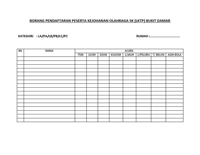 Borang Pendaftaran Peserta Kejohanan Olahraga Sk