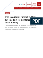 The Neoliberal Project is Alive but Has Lost Its Legitimacy- David Harvey