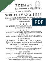 Sor Juana Ines de La Cruz. Poemas 1692