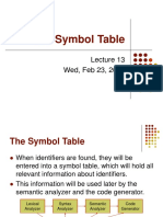 Lecture 13 - The Symbol Table