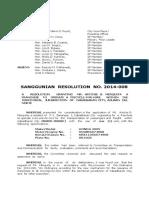 Cabadbaran City Sanggunian Resolution No. 2014-008