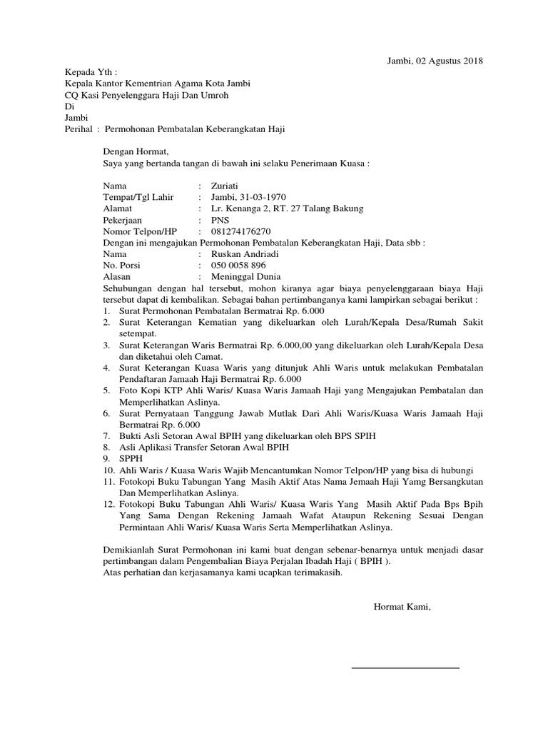 Surat Permohonan Pembatalan Haji Kebaya Glamar
