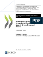 Evaluating the Impact of Urban Raod Pricing on the Use of Green Trasport Modes