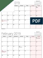 Kalender January 2019 - December 2019