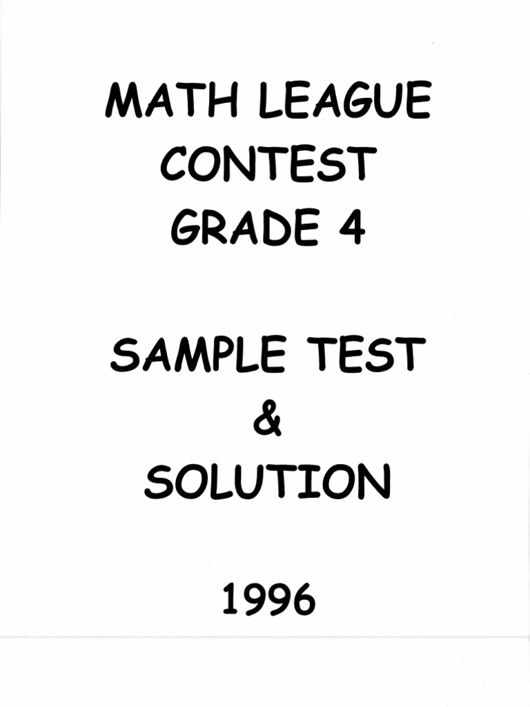 Math League Grade 4 1996