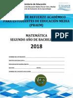 Primera Prueba de Avance de Matemática - Segundo Año de Bachilllerato - PRAEM 2018