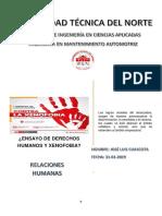 Ensayo de Derechos Humanos y Xenofobia
