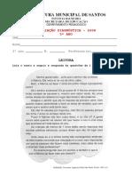 Avaliação Diagnóstica 5 Ano de Português e Matemática Em PDF Modelo 2
