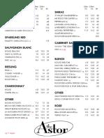 Astor Wine List