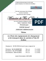 Le Choix des équipements de chargement et de transport dans la carrière d'Ain El Kebira..pdf