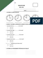 Cuarto English Exam 6to de Primaria