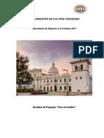 Plan Maestro de Cultura Ciudadana Municipio de Popayán 2018