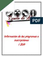 Información de los programas e inscripciones I 2019 Escuela de Artes Suba