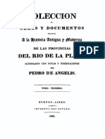 De Angelis, 1837, Coleccion de Obras y de Documentos, Tomo I