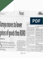 Manila Standard, Feb. 19, 2019, Arroyo moves to lower prices of goods thru RORO.pdf