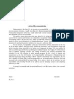 LOR Format Higher Studies