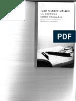 La Lectura Como Plegaria. Fragmentos Filosóficos 1