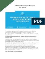Terbaru! Jasa Optimasi Web Terbaik Purwokerto, 0811-2829-003
