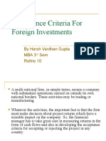 Acceptance Criteria for Foreign Investments