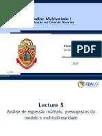 Lecture05-Pressupostos Do Modelo RLM, Multicolinearidade e Sua Mensuração Pela Variância, Análise Do Viés