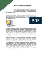 DEFINICIÓN DE UNA COMPUTADORA