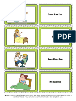 Health Problems Esl Vocabulary Game Cards for Kids