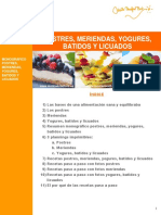 0) Indice - Postres, Meriendas, Yogures, Batidos y Licuados