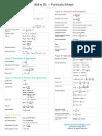 IB Maths SL Formula Sheet 2019