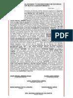 Acto de Estipulaciones y Convenciones de Divorcio Por Mutuo Consentimiento de Yaury Miguel Jimenez Avalo