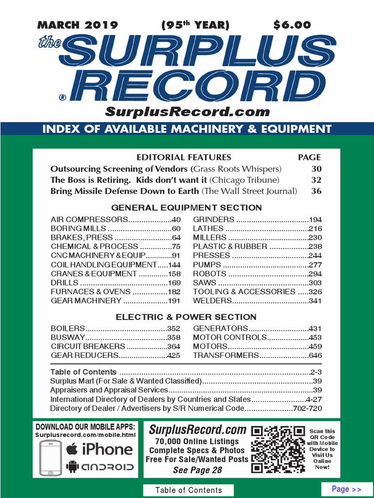 MARCH 2019 Surplus Record Machinery & Equipment Directory