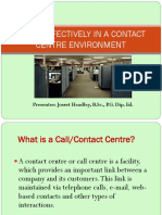 work effectively in a contact centre environment