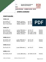 Oferta Horaria Portugués Curso 2018-2019