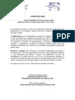 Comunicado Comision de Justicia y Paz Rechazo a Los Allanamientos 19 de Febrero 2019