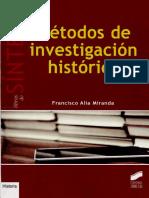 Métodos de Investigación Histórica - Francisco Alía Miranda