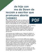Padre de Hijo Con Síndrome de Down Da Lección a Escritor Que Promueve Aborto