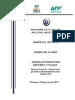 Plantilla Memoria de Estadía UTT TSU PI 2017