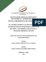 Control Interno y Su Influencia en La Gestión de Instituciones Públicas de Salud Del Perú Caso Hospital Essalud de La Ciudad de Chimbote, Año 2018