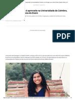 Estudante Capixaba e Aprovada Na Universidade de Coimbra Em Portugal Com Nota Do Enem