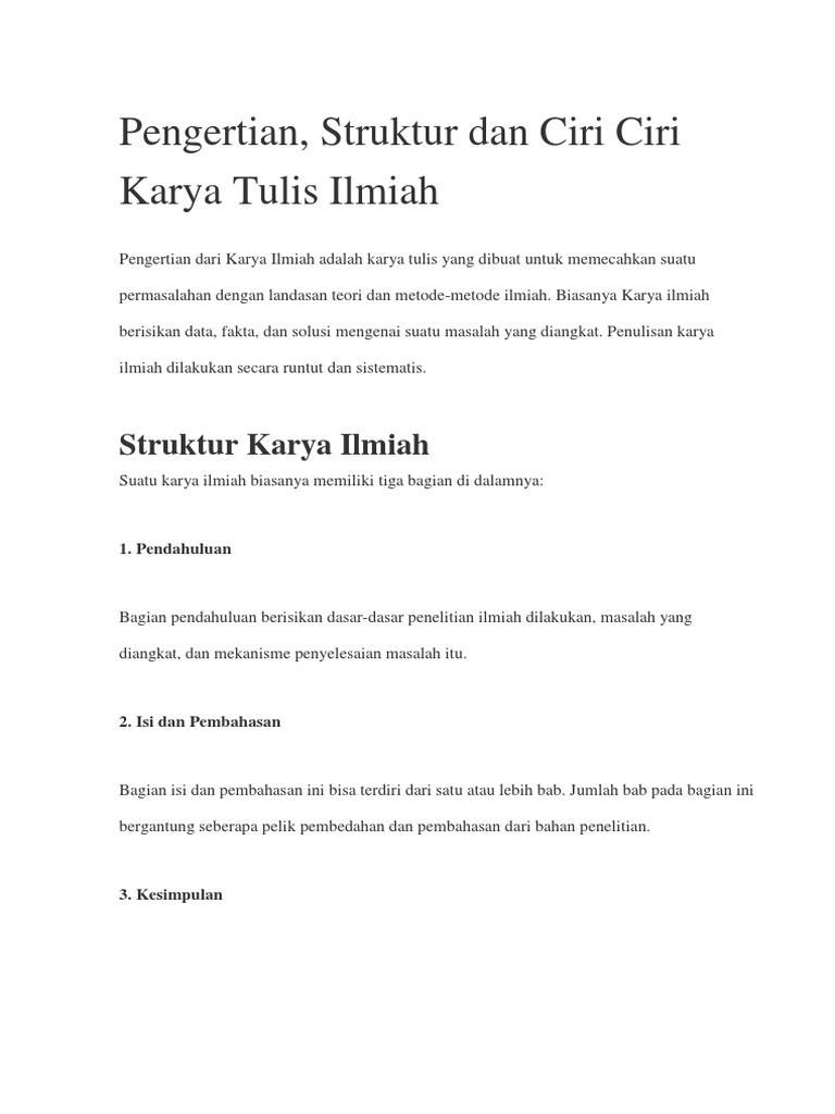 Struktur Penulisan Karya Tulis Ilmiah Berbagi Struktur
