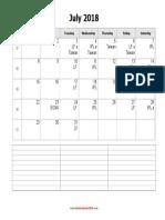 July 2018 Calendar Notes Blank Landscape