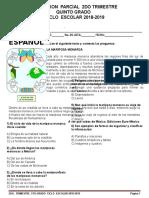Examen Quinto Grado 2do. Trimestre Español