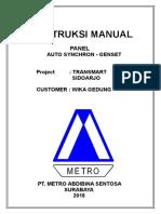 Manual Instruction Panel (Auto Syncrone Genset) TRANSMART SIDOARDJO