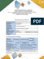 Guía de Actividades y Rúbrica de Evaluación - Fase 4 - Marco Lógico - Elaboración Del Proyecto Social en Matriz de Marco Lógico