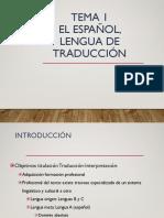 Tema 1. El Español, Lengua de Traducción