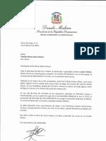 Carta de condolencias del presidente Danilo Medina a Freddyn Beras-Goico Vicioso por fallecimiento de su madre, Luchy Vicioso