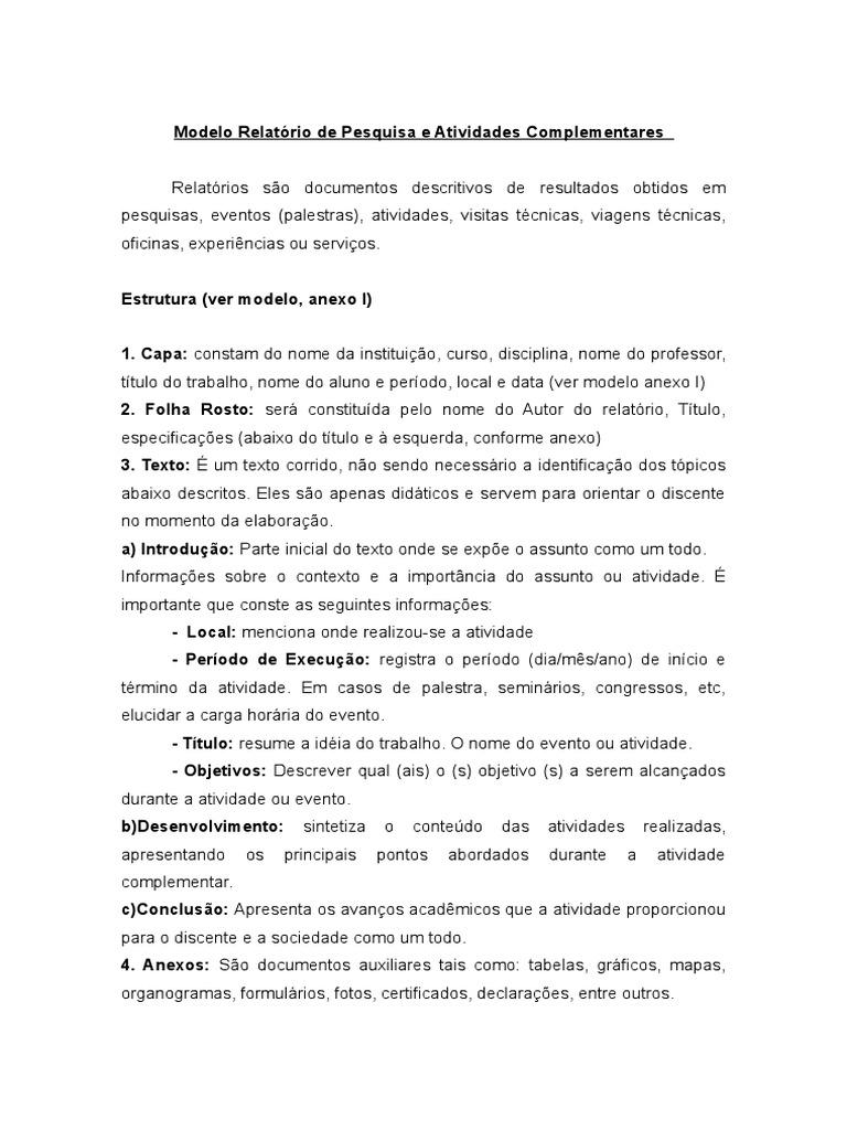 Suficiente Modelo de Relatório Acadêmico UB36